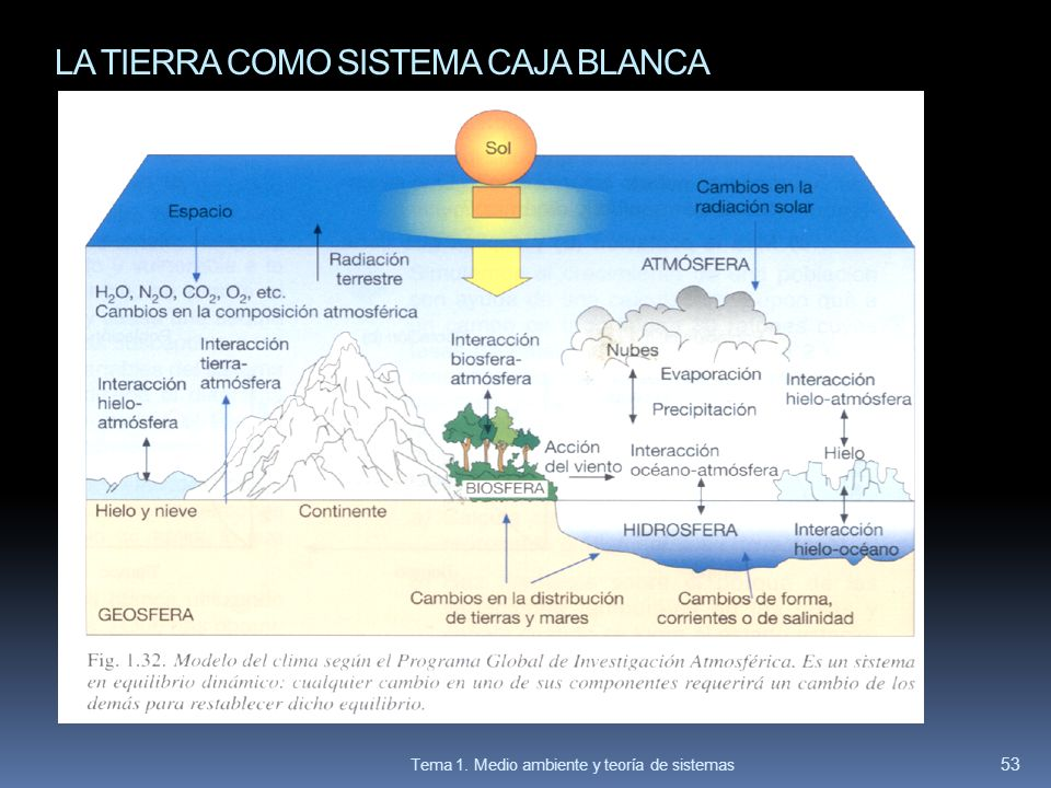 LA TIERRA COMO SISTEMA CAJA BLANCA 53 Tema 1. Medio ambiente y teoría de sistemas