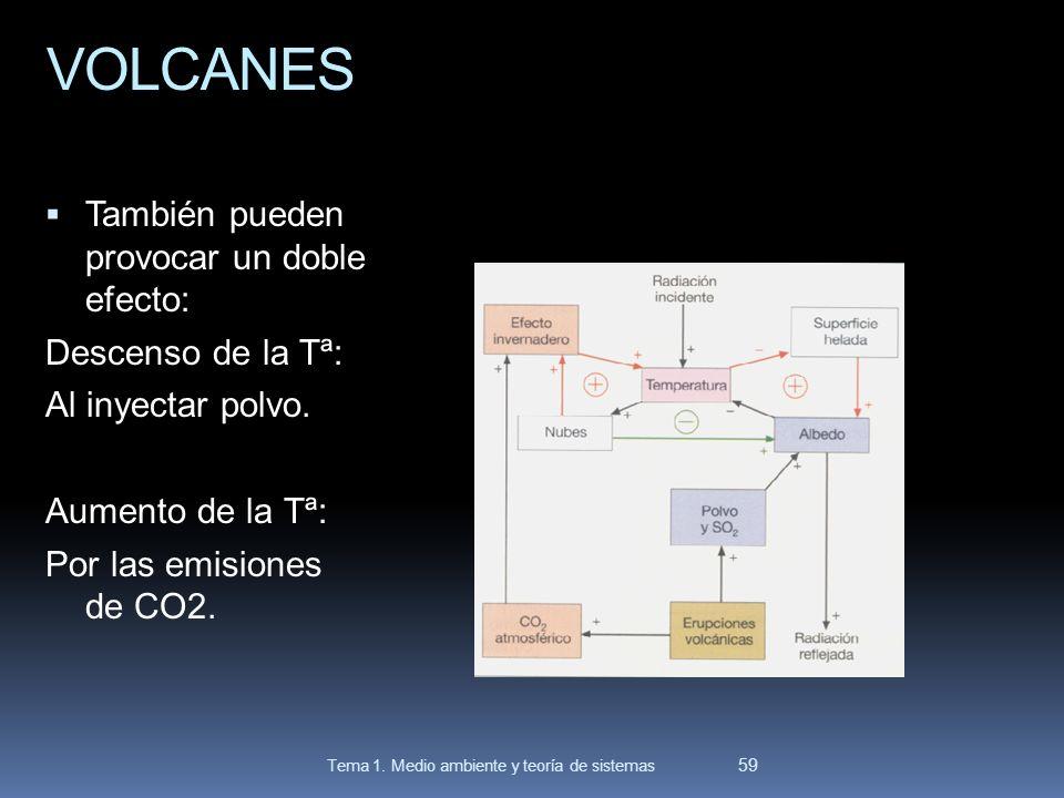 VOLCANES También pueden provocar un doble efecto: Descenso de la Tª: Al inyectar polvo. Aumento de la Tª: Por las emisiones de CO2. 59 Tema 1. Medio a