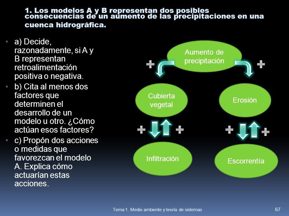 1. Los modelos A y B representan dos posibles consecuencias de un aumento de las precipitaciones en una cuenca hidrográfica. a) Decide, razonadamente,