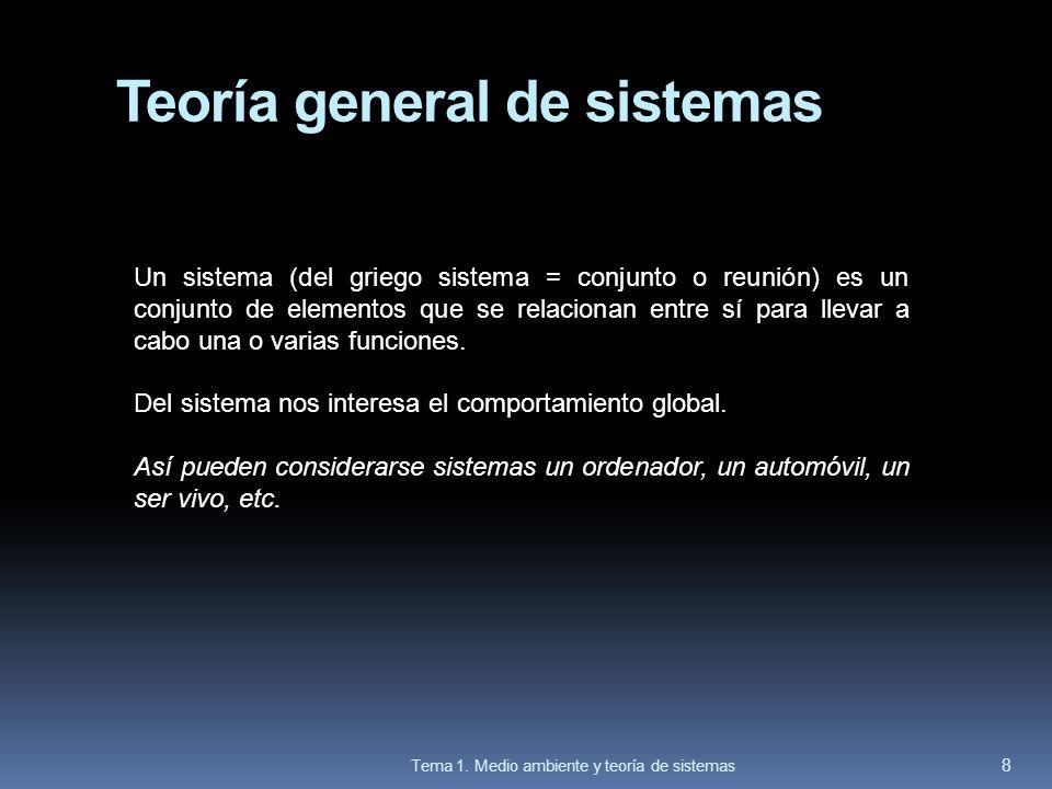 Teoría general de sistemas Un sistema (del griego sistema = conjunto o reunión) es un conjunto de elementos que se relacionan entre sí para llevar a c