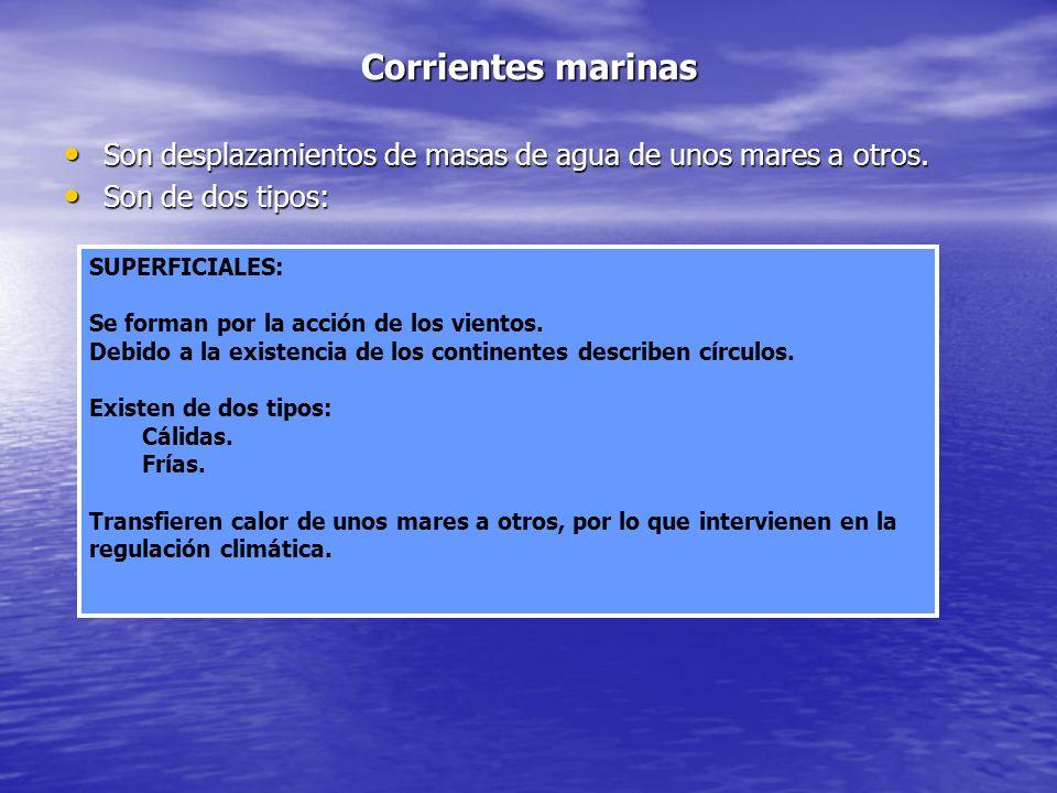 Corrientes marinas Son desplazamientos de masas de agua de unos mares a otros. Son desplazamientos de masas de agua de unos mares a otros. Son de dos