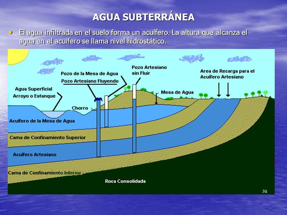 AGUA SUBTERRÁNEA El agua infiltrada en el suelo forma un acuífero. La altura que alcanza el agua en el acuífero se llama nivel hidrostático. El agua i