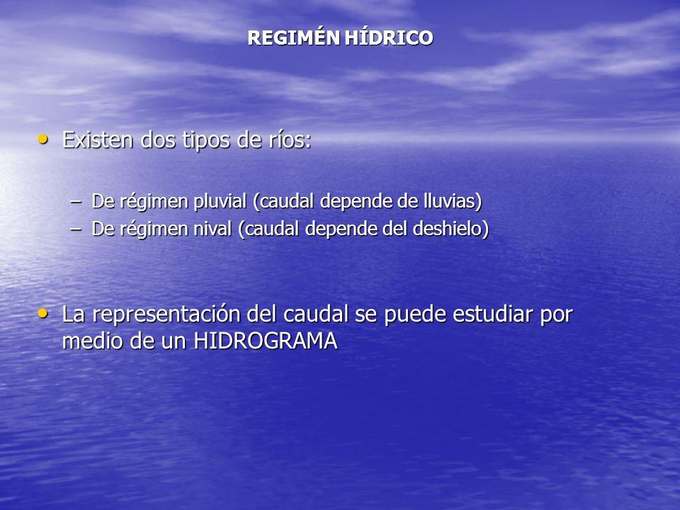 REGIMÉN HÍDRICO Existen dos tipos de ríos: Existen dos tipos de ríos: –De régimen pluvial (caudal depende de lluvias) –De régimen nival (caudal depend