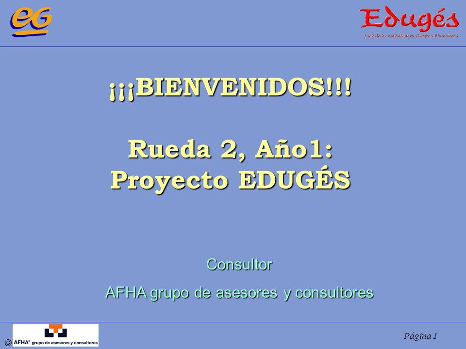 Página 1 © ¡¡¡BIENVENIDOS!!! Rueda 2, Año1: Proyecto EDUGÉS Consultor AFHA grupo de asesores y consultores