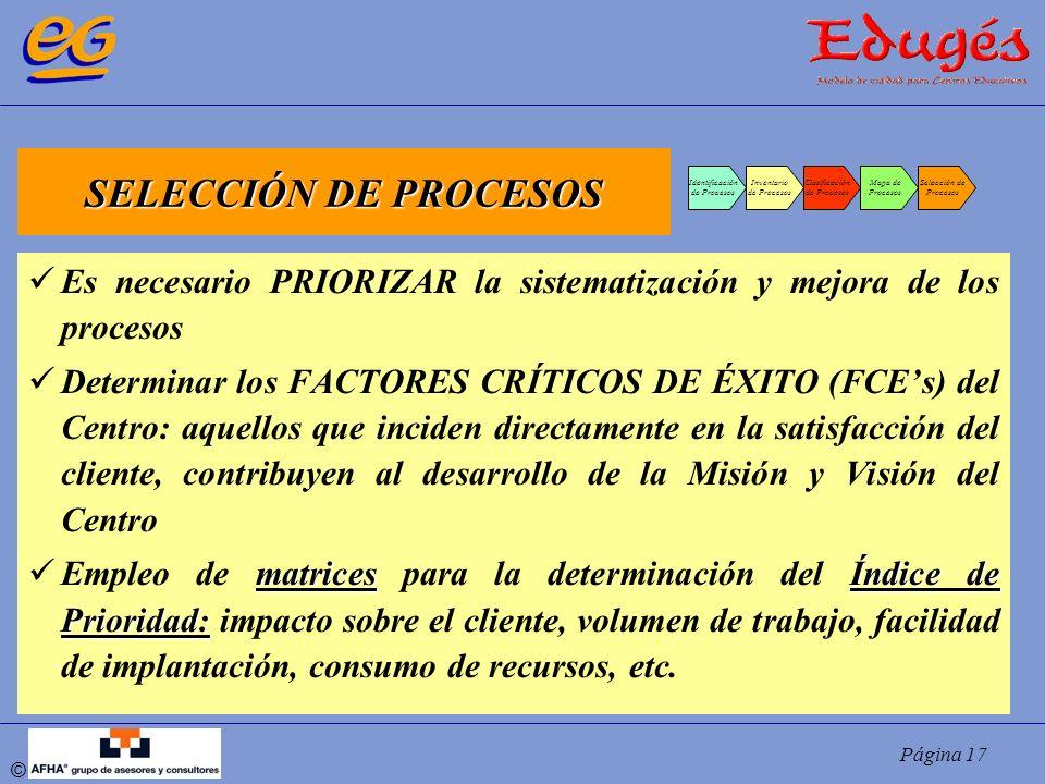 Página 17 © SELECCIÓN DE PROCESOS Identificación de Procesos Inventario de Procesos Clasificación de Procesos Mapa de Procesos Selección de Procesos E