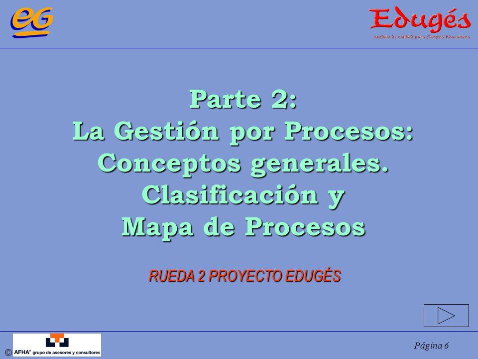 Página 7 © Definición general PROCESO: Conjunto de recursos y actividades interrelacionadas que transforman elementos de entrada en elementos de salida, con valor añadido para el cliente (destinatario del proceso) Según el tamaño de las actividades, incluiremos prefijos: subproceso, microproceso, macroproceso, etc.