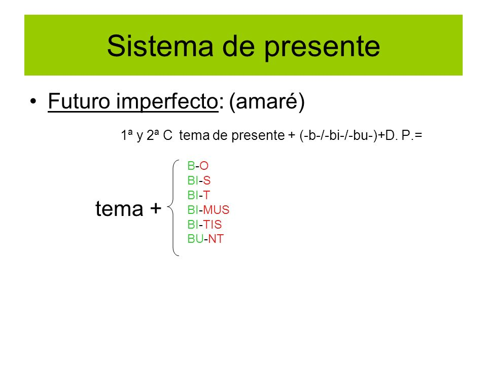 Sistema de presente Futuro imperfecto: (amaré) 1ª y 2ª C tema de presente + (-b-/-bi-/-bu-)+D. P.= tema + B-O BI-S BI-T BI-MUS BI-TIS BU-NT