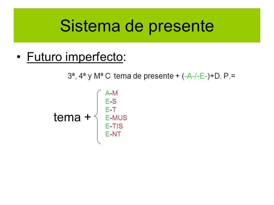 Sistema de presente Futuro imperfecto: 3ª, 4ª y Mª C tema de presente + (-A-/-E-)+D. P.= tema + A-M E-S E-T E-MUS E-TIS E-NT