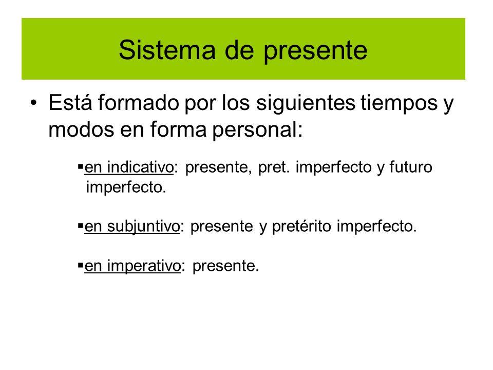 Sistema de presente Está formado por los siguientes tiempos y modos en forma personal: en indicativo: presente, pret. imperfecto y futuro imperfecto.