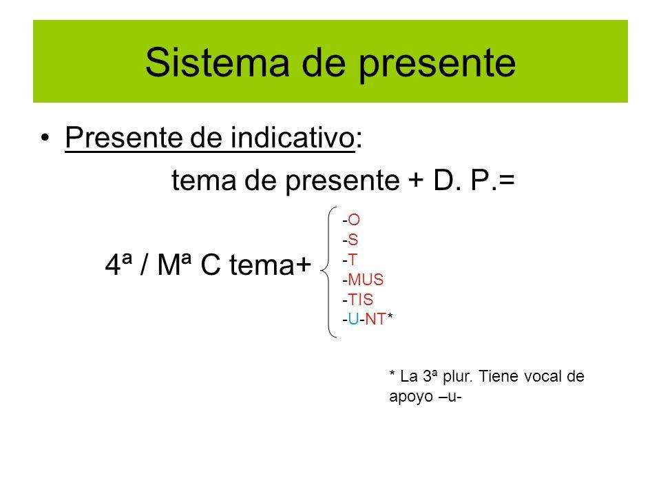 Sistema de presente Presente de indicativo: tema de presente + D. P.= 4ª / Mª C tema+ -O -S -T -MUS -TIS -U-NT* * La 3ª plur. Tiene vocal de apoyo –u-