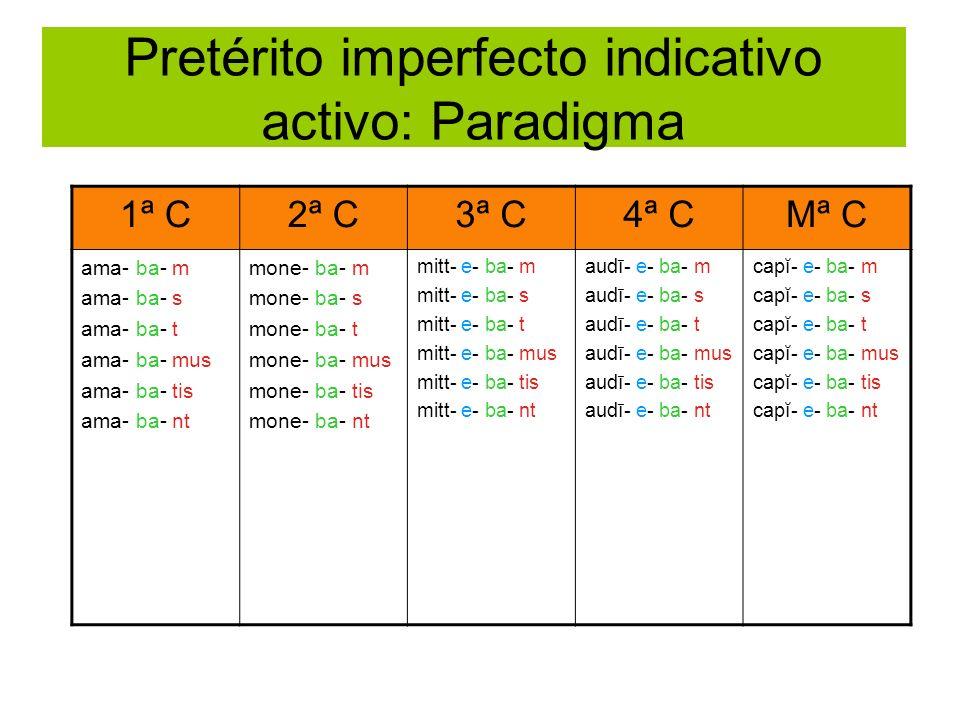 Pretérito imperfecto indicativo activo: Paradigma 1ª C2ª C3ª C4ª CMª C ama- ba- m ama- ba- s ama- ba- t ama- ba- mus ama- ba- tis ama- ba- nt mone- ba