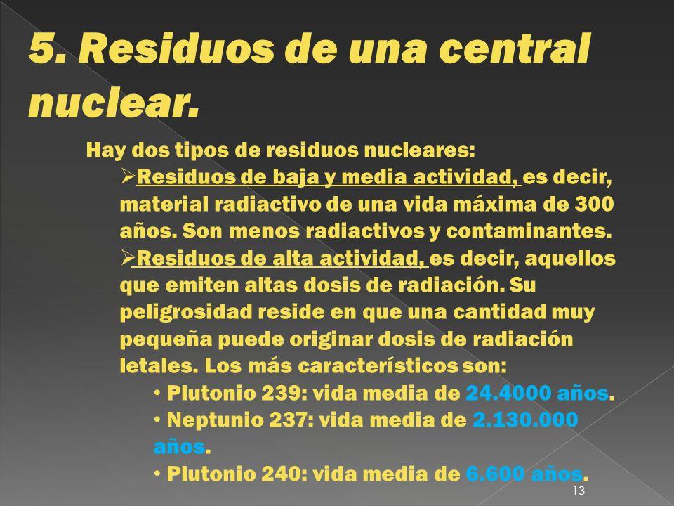 5. Residuos de una central nuclear. Hay dos tipos de residuos nucleares: Residuos de baja y media actividad, es decir, material radiactivo de una vida