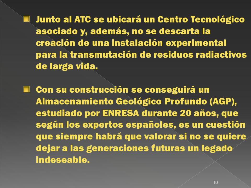 Junto al ATC se ubicará un Centro Tecnológico asociado y, además, no se descarta la creación de una instalación experimental para la transmutación de