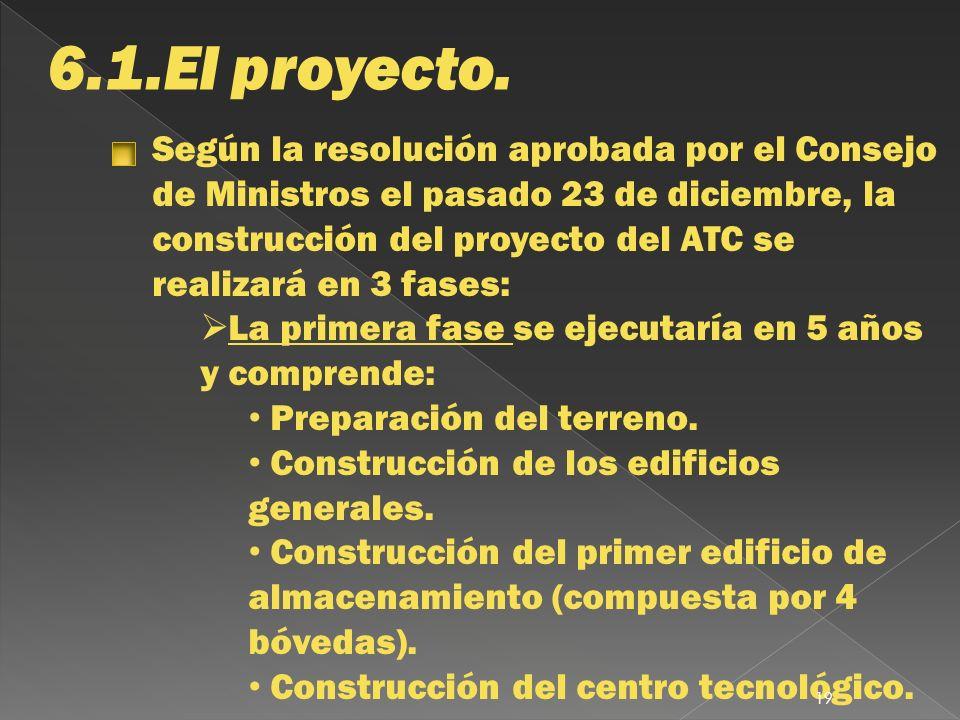 6.1.El proyecto. Según la resolución aprobada por el Consejo de Ministros el pasado 23 de diciembre, la construcción del proyecto del ATC se realizará
