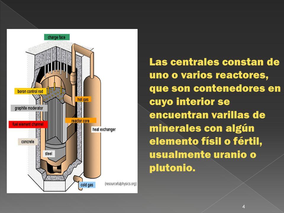 Las centrales constan de uno o varios reactores, que son contenedores en cuyo interior se encuentran varillas de minerales con algún elemento físil o