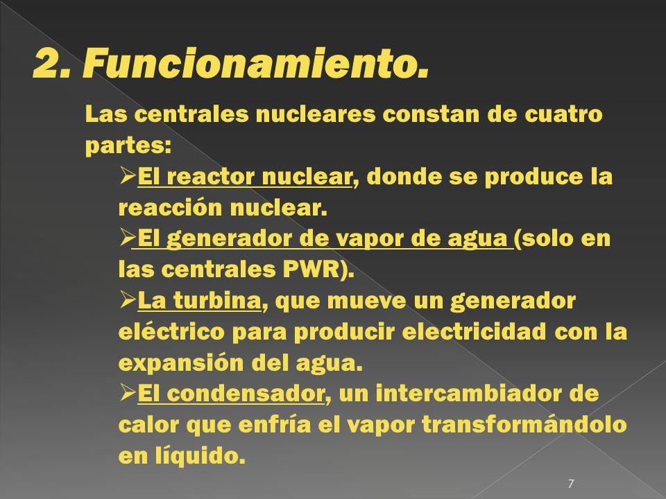2. Funcionamiento. Las centrales nucleares constan de cuatro partes: El reactor nuclear, donde se produce la reacción nuclear. El generador de vapor d