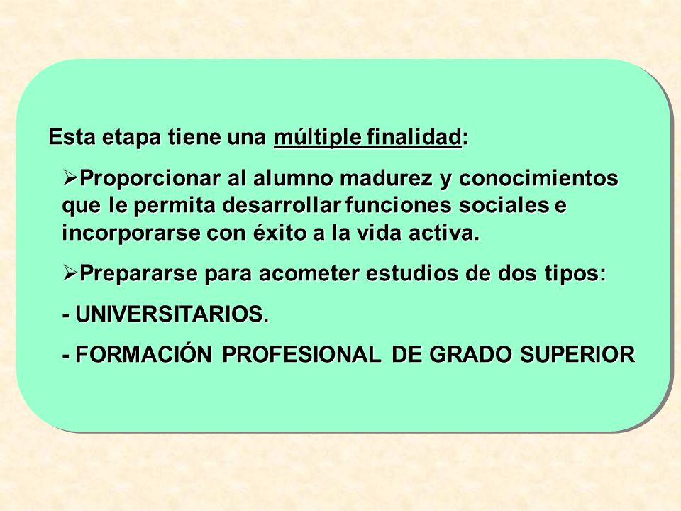 Esta etapa tiene una múltiple finalidad: Proporcionar al alumno madurez y conocimientos que le permita desarrollar funciones sociales e incorporarse c