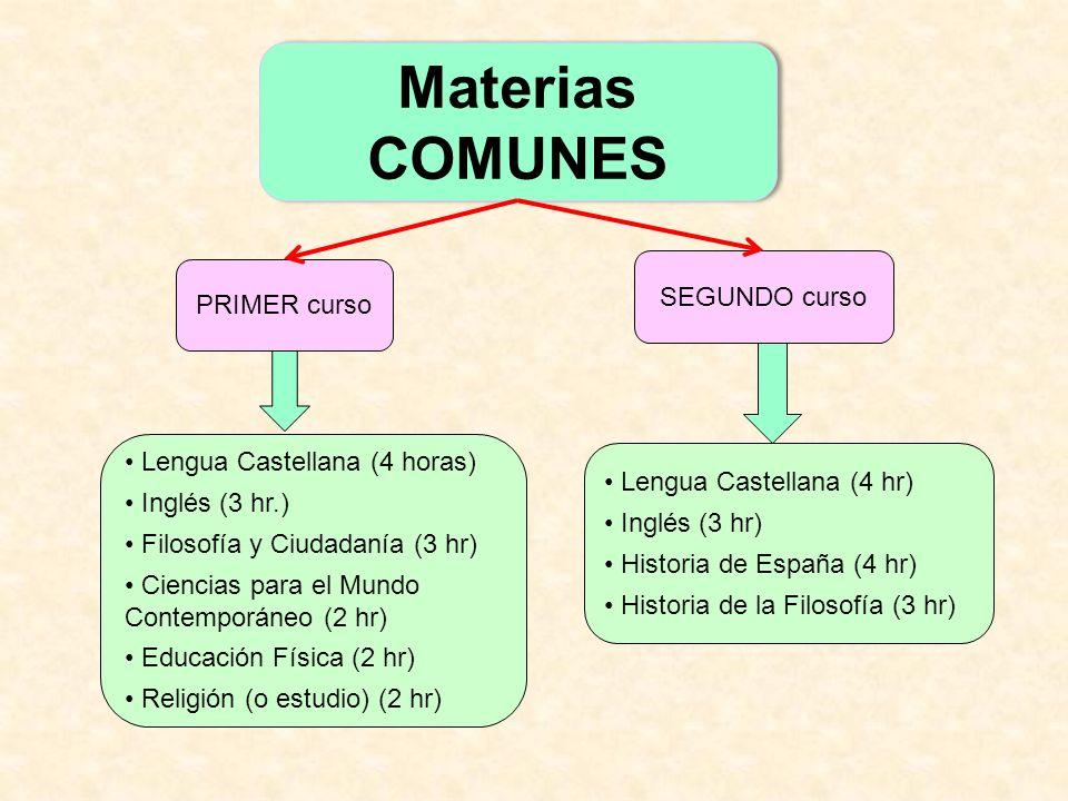 Lengua Castellana (4 horas) Inglés (3 hr.) Filosofía y Ciudadanía (3 hr) Ciencias para el Mundo Contemporáneo (2 hr) Educación Física (2 hr) Religión