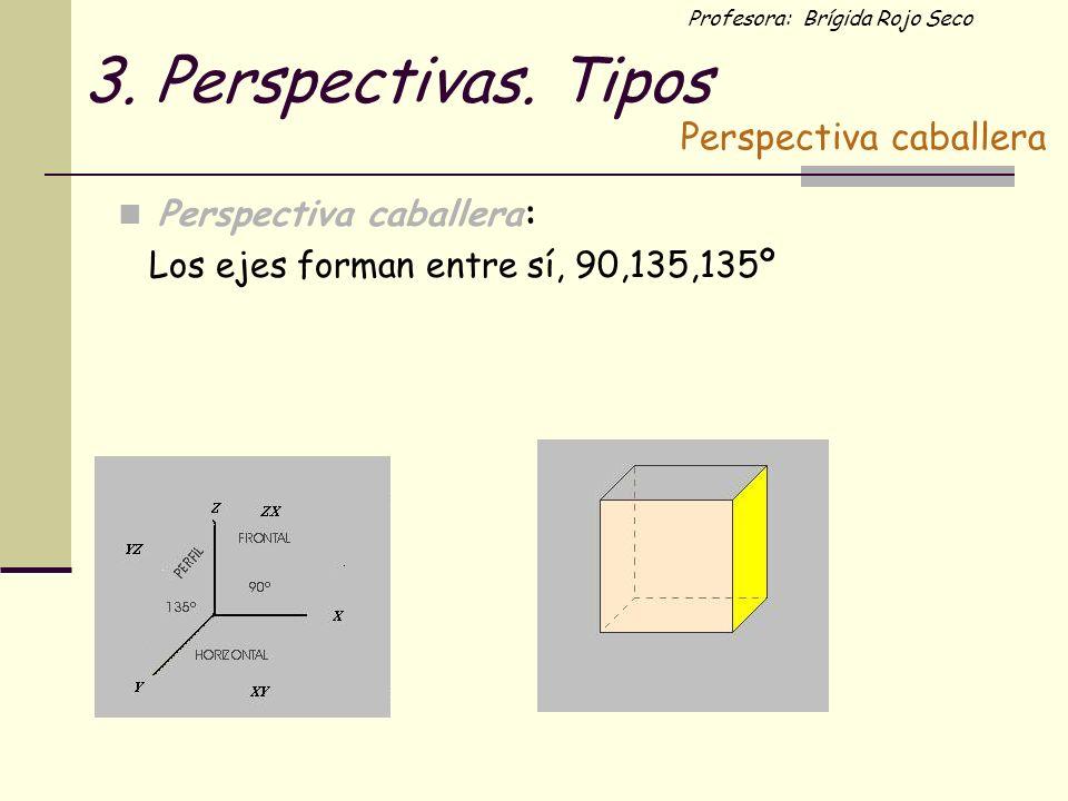 Profesora: Brígida Rojo Seco 3. Perspectivas. Tipos Perspectiva caballera: Los ejes forman entre sí, 90,135,135º Perspectiva caballera