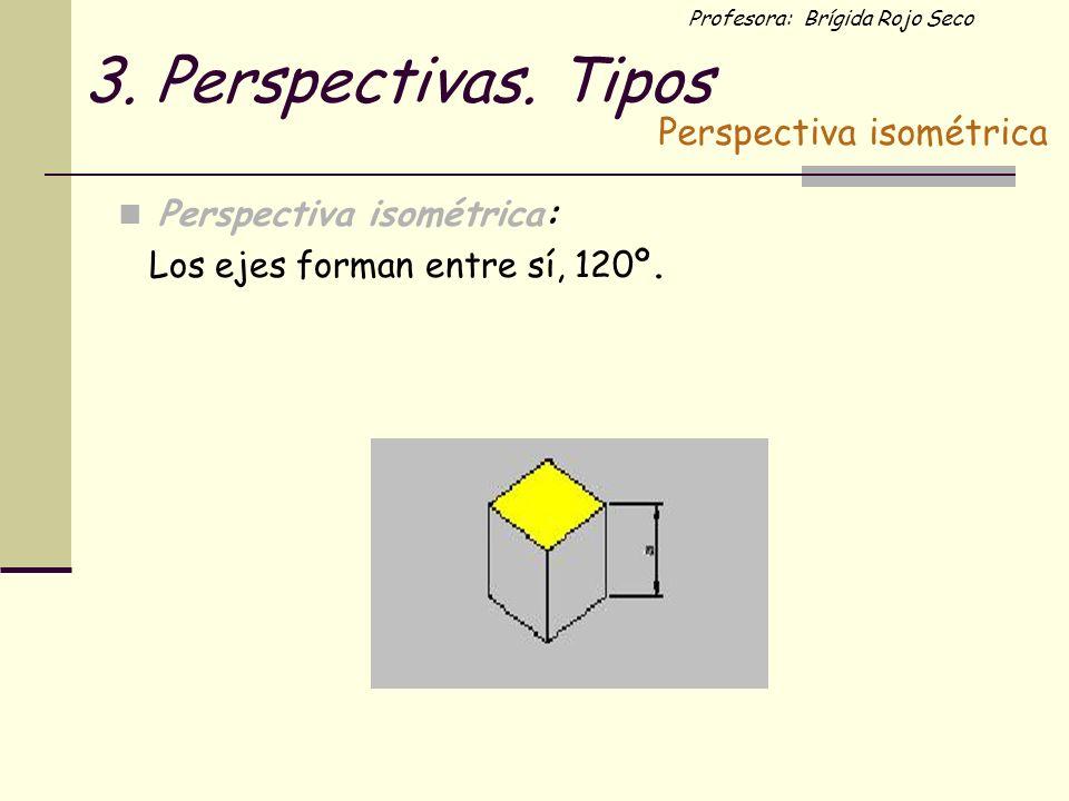 Profesora: Brígida Rojo Seco 3. Perspectivas. Tipos Perspectiva isométrica: Los ejes forman entre sí, 120º. Perspectiva isométrica