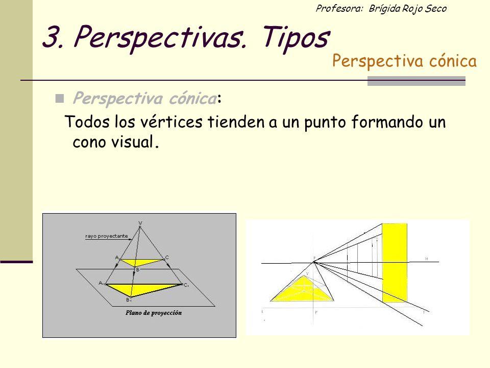 Profesora: Brígida Rojo Seco 3. Perspectivas. Tipos Perspectiva cónica: Todos los vértices tienden a un punto formando un cono visual. Perspectiva cón