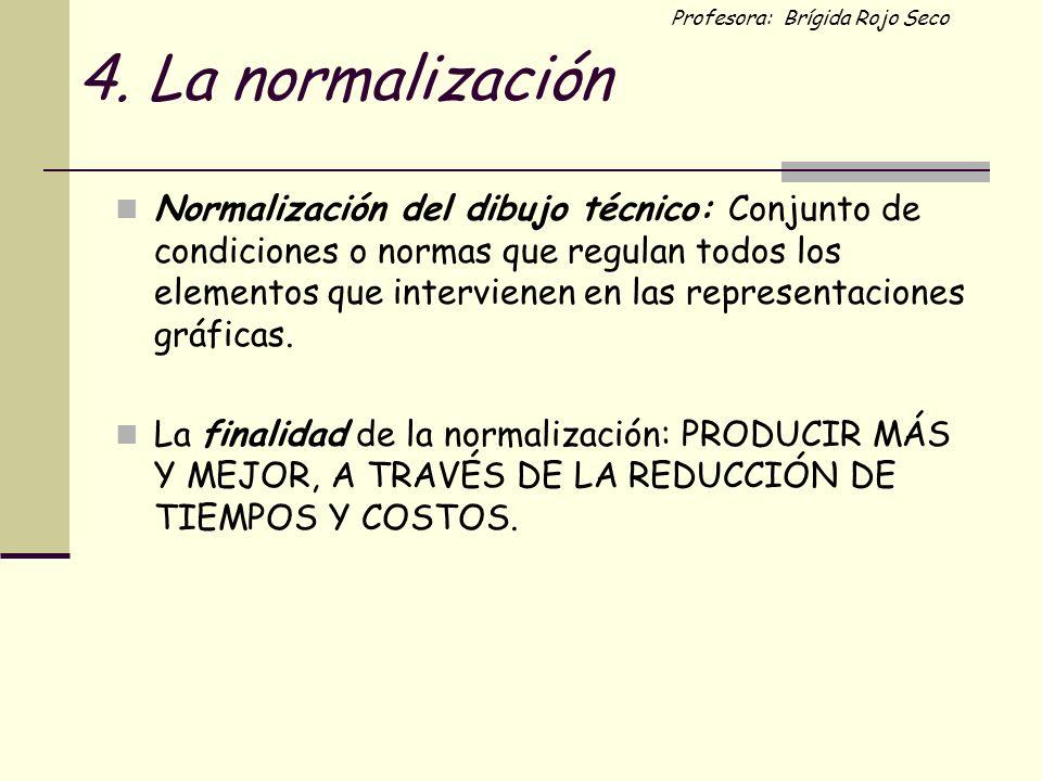 Profesora: Brígida Rojo Seco 4. La normalización Normalización del dibujo técnico: Conjunto de condiciones o normas que regulan todos los elementos qu