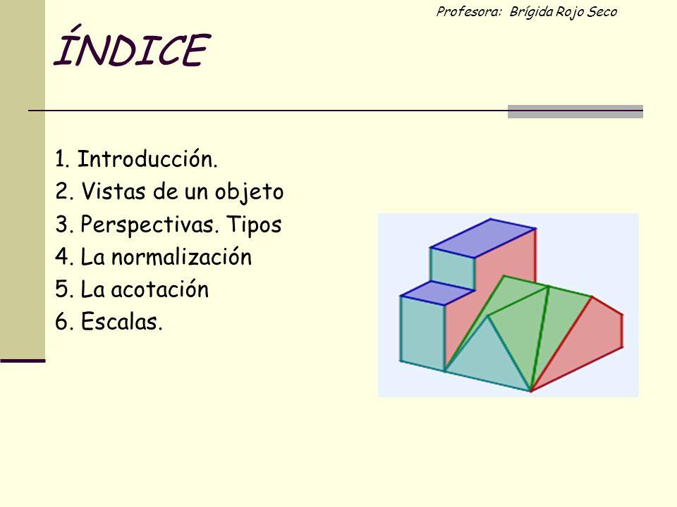 Profesora: Brígida Rojo Seco ÍNDICE 1. Introducción. 2. Vistas de un objeto 3. Perspectivas. Tipos 4. La normalización 5. La acotación 6. Escalas.