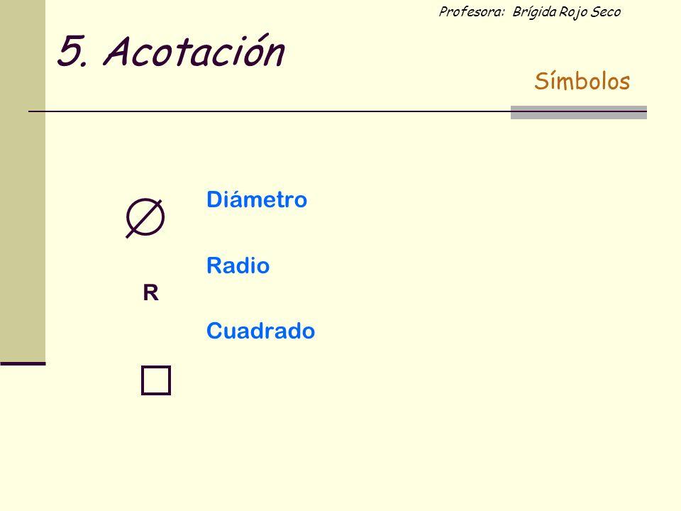 Profesora: Brígida Rojo Seco Diámetro Radio Cuadrado R 5. Acotación Símbolos