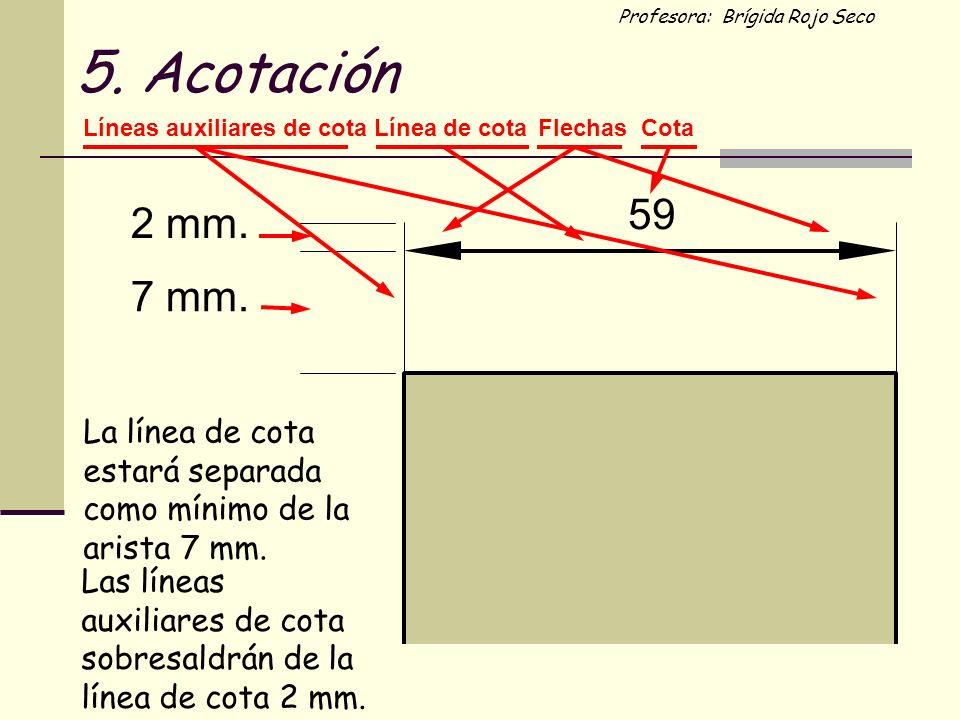 Profesora: Brígida Rojo Seco 2 mm. 7 mm. 59 Línea de cotaFlechasCotaLíneas auxiliares de cota La línea de cota estará separada como mínimo de la arist