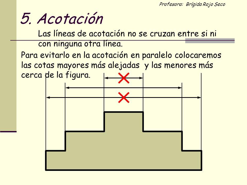 Profesora: Brígida Rojo Seco Las líneas de acotación no se cruzan entre si ni con ninguna otra línea. Para evitarlo en la acotación en paralelo coloca