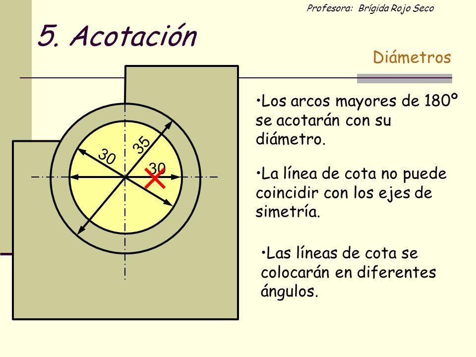 Profesora: Brígida Rojo Seco 35 30 La línea de cota no puede coincidir con los ejes de simetría. Los arcos mayores de 180º se acotarán con su diámetro