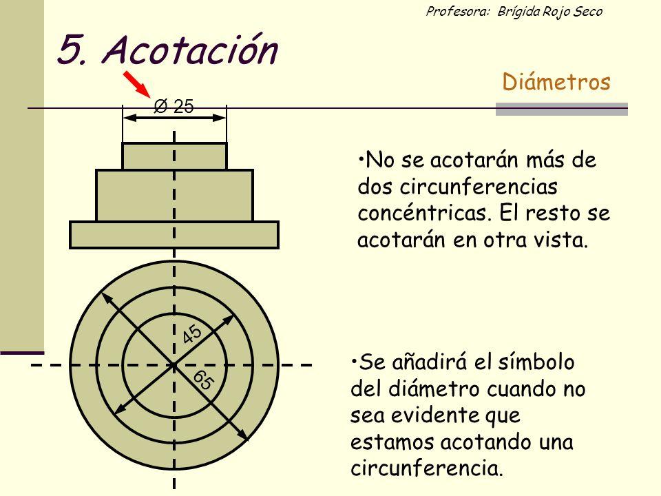 Profesora: Brígida Rojo Seco 45 65 25O No se acotarán más de dos circunferencias concéntricas. El resto se acotarán en otra vista. Se añadirá el símbo