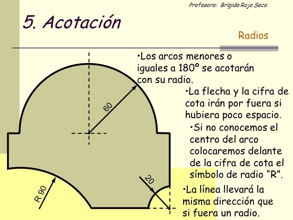 Profesora: Brígida Rojo Seco Los arcos menores o iguales a 180º se acotarán con su radio. 20 60 La flecha y la cifra de cota irán por fuera si hubiera