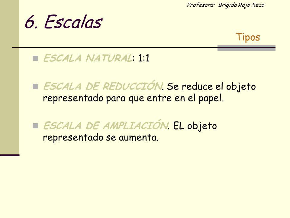 Profesora: Brígida Rojo Seco 6. Escalas ESCALA NATURAL: 1:1 ESCALA DE REDUCCIÓN. Se reduce el objeto representado para que entre en el papel. ESCALA D