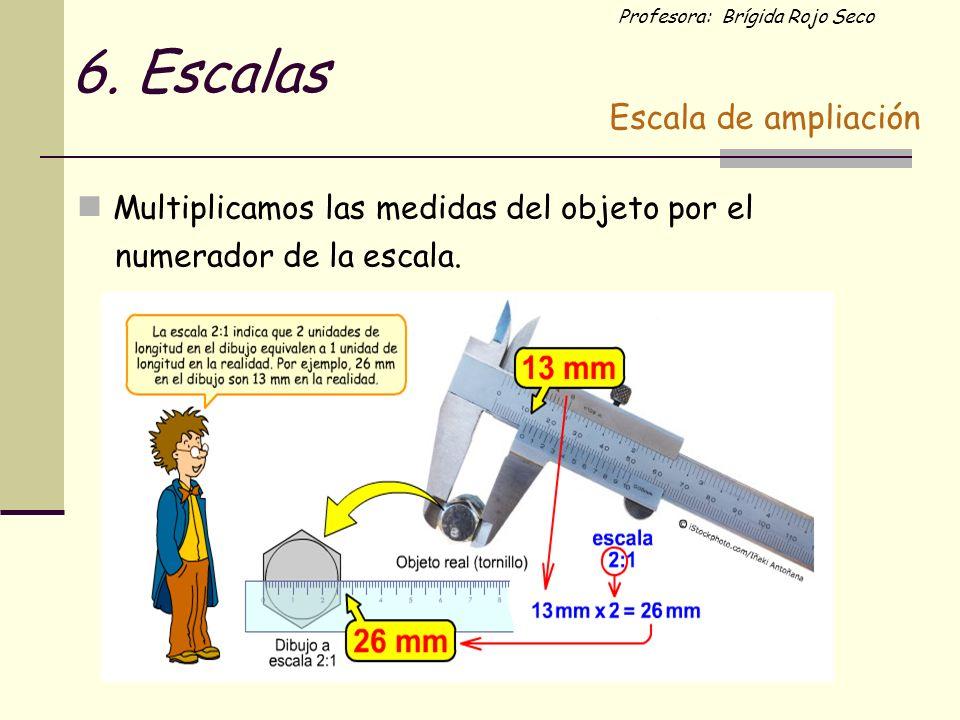 Profesora: Brígida Rojo Seco Multiplicamos las medidas del objeto por el numerador de la escala. Escala de ampliación 6. Escalas