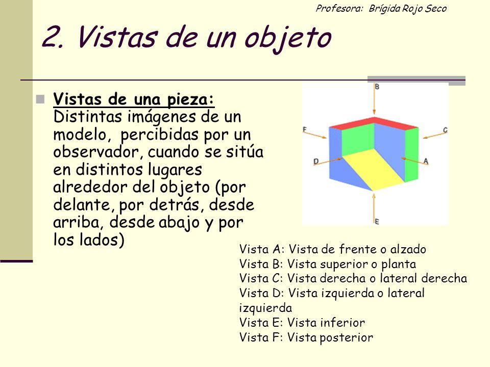 Profesora: Brígida Rojo Seco 2. Vistas de un objeto Vistas de una pieza: Distintas imágenes de un modelo, percibidas por un observador, cuando se sitú