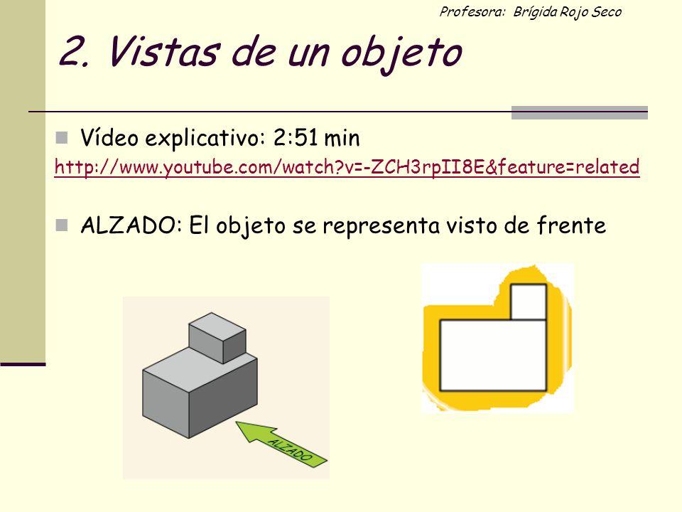 Profesora: Brígida Rojo Seco 2. Vistas de un objeto Vídeo explicativo: 2:51 min http://www.youtube.com/watch?v=-ZCH3rpII8E&feature=related ALZADO: El
