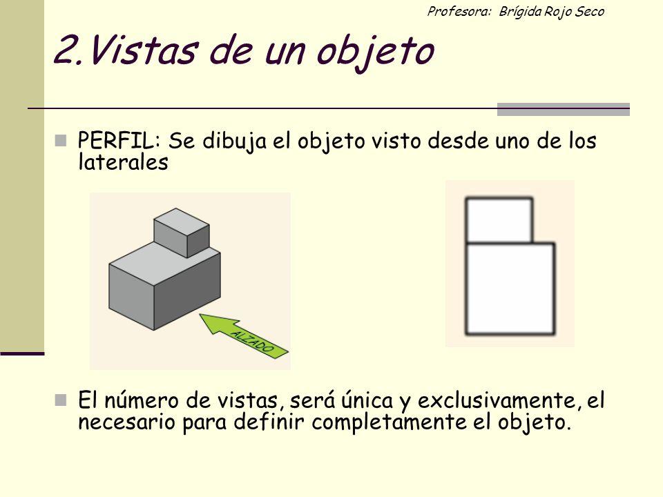Profesora: Brígida Rojo Seco 2.Vistas de un objeto PERFIL: Se dibuja el objeto visto desde uno de los laterales El número de vistas, será única y excl