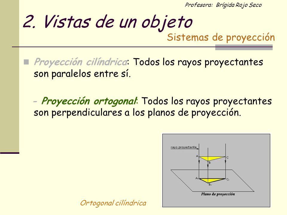 Profesora: Brígida Rojo Seco 2. Vistas de un objeto Proyección cilíndrica: Todos los rayos proyectantes son paralelos entre sí. - Proyección ortogonal