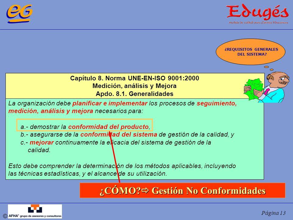 © Página 13 La organización debe planificar e implementar los procesos de seguimiento, medición, análisis y mejora necesarios para: a.- demostrar la c