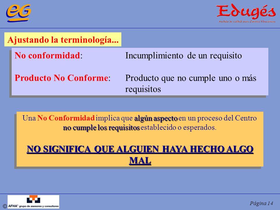 © Página 14 Ajustando la terminología... No conformidad:Incumplimiento de un requisito Producto No Conforme:Producto que no cumple uno o más requisito