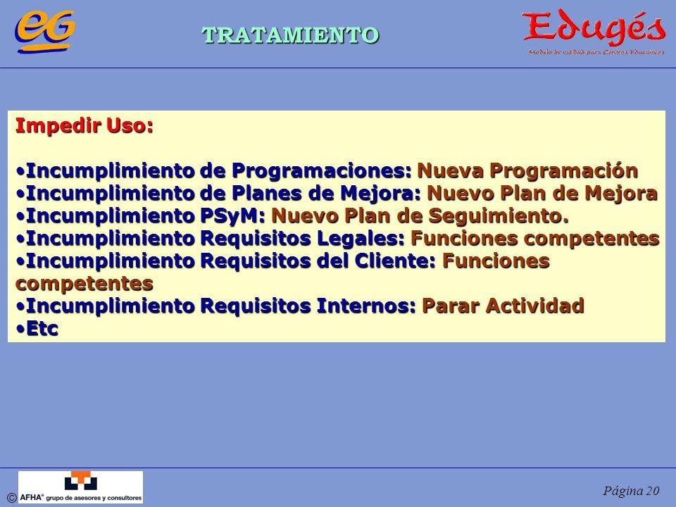 © Página 20 TRATAMIENTO Impedir Uso: Incumplimiento de Programaciones: Nueva ProgramaciónIncumplimiento de Programaciones: Nueva Programación Incumpli