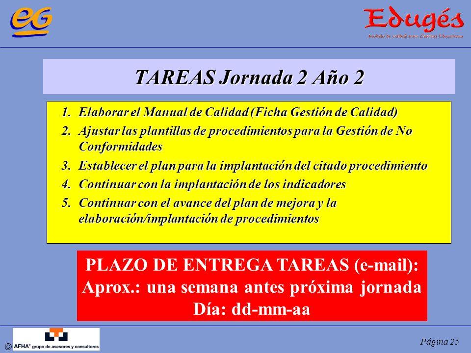 © Página 25 TAREAS Jornada 2 Año 2 1.Elaborar el Manual de Calidad (Ficha Gestión de Calidad) 2.Ajustar las plantillas de procedimientos para la Gesti