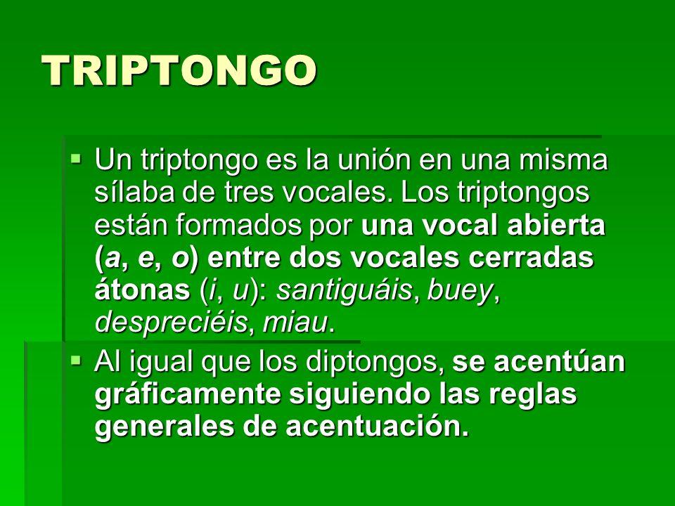 TRIPTONGO Un triptongo es la unión en una misma sílaba de tres vocales. Los triptongos están formados por una vocal abierta (a, e, o) entre dos vocale