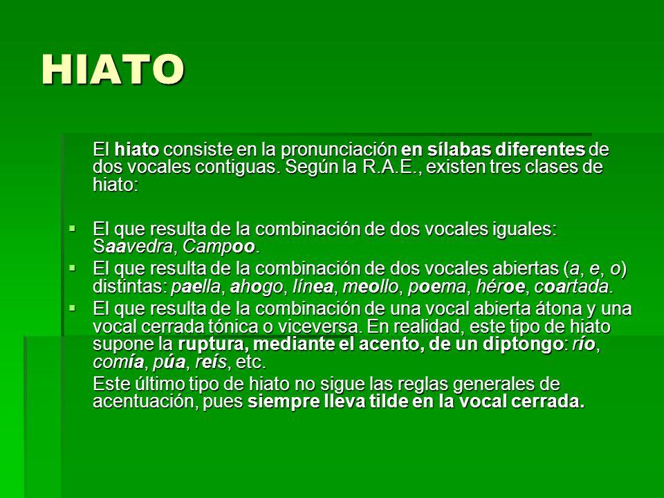 HIATO El hiato consiste en la pronunciación en sílabas diferentes de dos vocales contiguas. Según la R.A.E., existen tres clases de hiato: El que resu