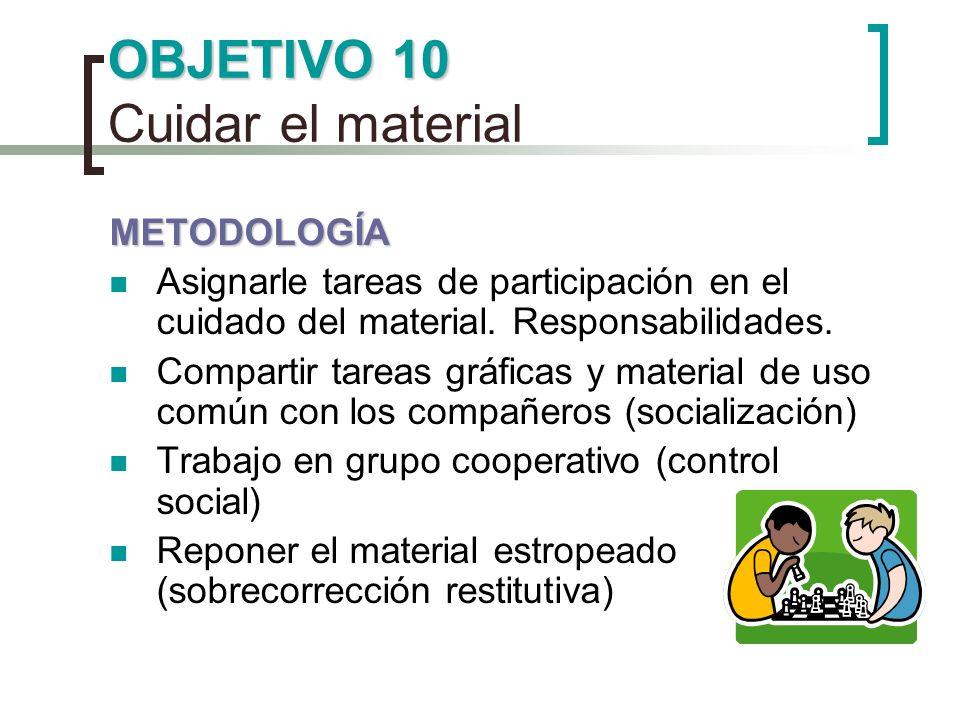OBJETIVO 10 OBJETIVO 10 Cuidar el material METODOLOGÍA Asignarle tareas de participación en el cuidado del material. Responsabilidades. Compartir tare