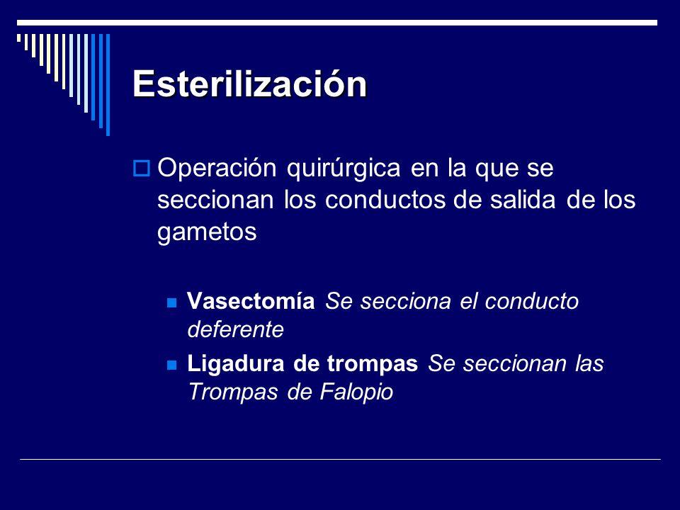 Esterilización Operación quirúrgica en la que se seccionan los conductos de salida de los gametos Vasectomía Se secciona el conducto deferente Ligadur