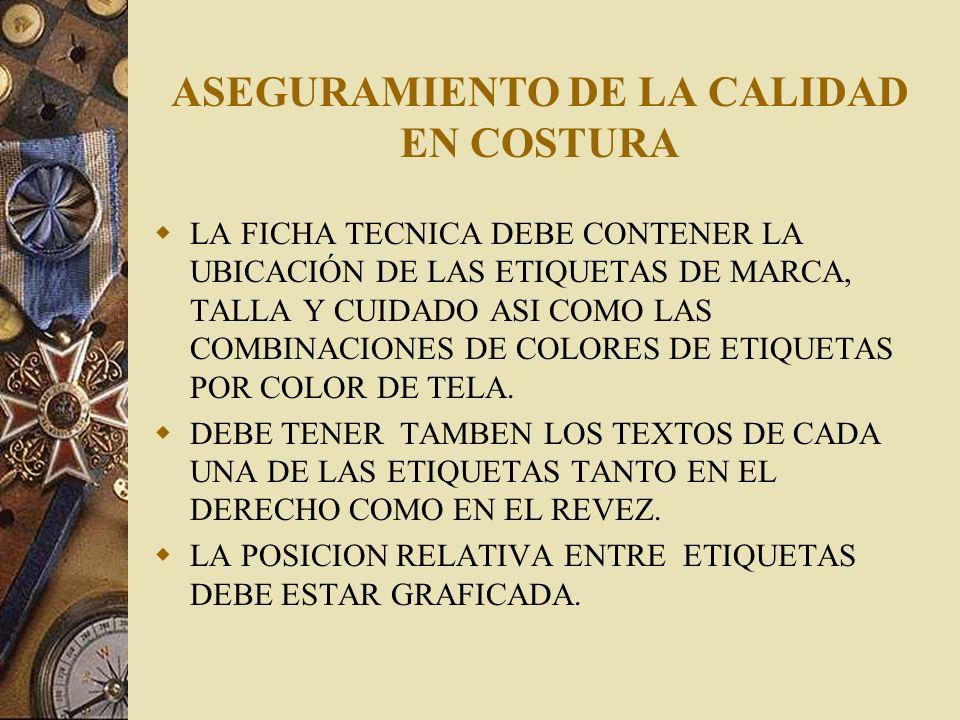 ASEGURAMIENTO DE LA CALIDAD EN COSTURA LA FICHA TECNICA DEBE CONTENER LA DESCRIPCION DE LAS MEDIDAS DE COSTURA Y LAS DE ACABADOS.