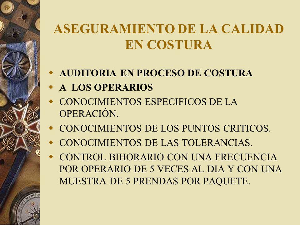 ASEGURAMIENTO DE LA CALIDAD EN COSTURA A LA LINEA DE PRODUCCION VERIFICACION DE TONOS DE PIEZAS.