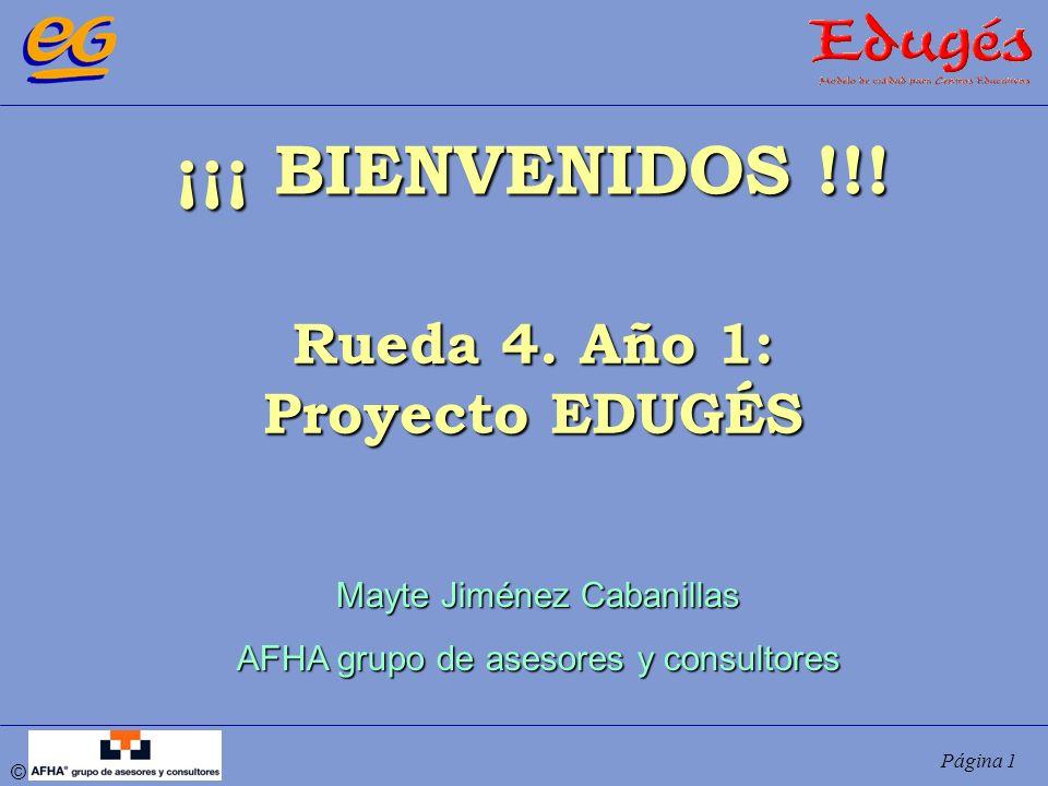 © Página 1 ¡¡¡ BIENVENIDOS !!! Rueda 4. Año 1: Proyecto EDUGÉS Mayte Jiménez Cabanillas AFHA grupo de asesores y consultores